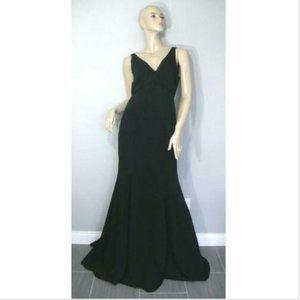 Marchesa Notte Black V-Neck Crepe Gown Dress 10